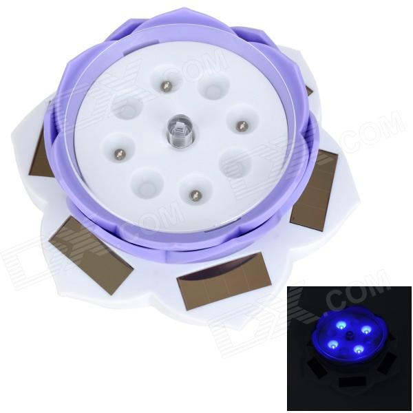 Solar Power 360 Degree Rotation Tray Lotus Showcase w/ 4-Blue Light LED - White + Purple (1 x AA)