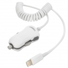 8 Pin Lightning Curly Coiled Cable Car Cigarette Lighter Adapter / Charger - White (12~24V)