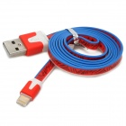 Flowers Pattern 8 Pin Lightning Male to USB Male Flat Data Cable - Red + White + Blue (95cm)