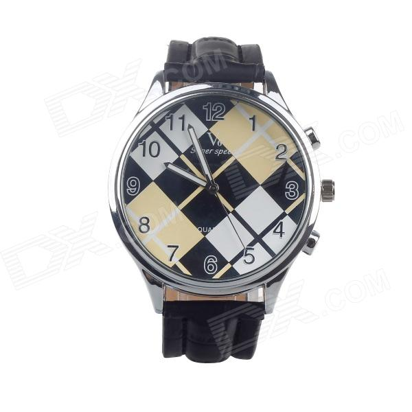 Super Speed V6 V0153-BY Check Dial Quartz Wrist Watch for Men - Black + Yellow + While (1 x LR626)