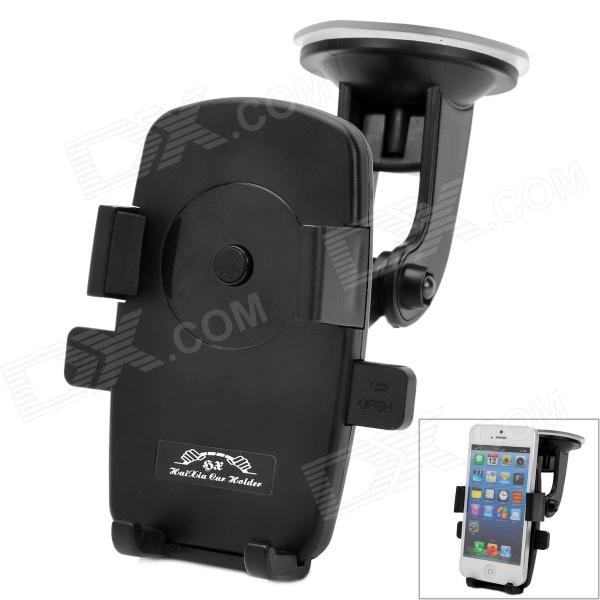 Universal Suction Cup Car GPS / Mobile Phone Plastic Holder - Black