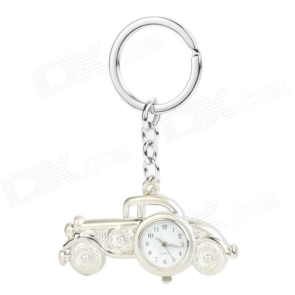 Retro Beat-Up Car Jalopy Style Pocket Quartz Watch w/ Keychain - Silver (1 x LR41)