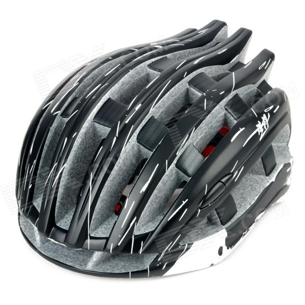 HaoHan 195603 Outdoor Sports Cycling Helmet w/ Channeled Vents - Black + White (Size-M)