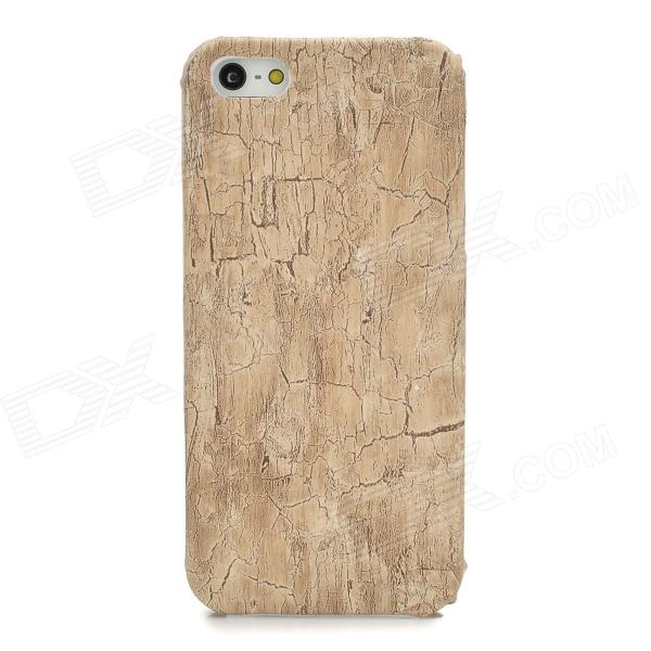 Stylish Apricot Wood Grain Plastic Back Case for Iphone 5 - Apricot for iphone 6 plus wood grain leather coated plastic case khaki