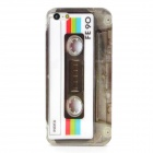 Cassette Pattern Protective Plastic Hard Back Case for Iphone 5 - White + Black + Grey