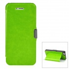 Protective PU Leather + Plastic Case for Iphone 5 - Green