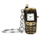 Retro Bar Phone Style Analogue Quartz Watch Pendant Keychain - Bronze (1 x LR41)