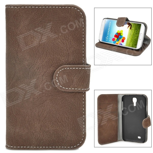 Bark Grain Pattern Protective Flip-Open PU Leather Case for Samsung Galaxy S4 i9500 - Brown + Black protective flip open pu leather case for samsung galaxy s4 i9500 white