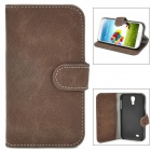 Bark Grain Pattern Protective Flip-Open PU Leather Case for Samsung Galaxy S4 i9500 - Brown + Black
