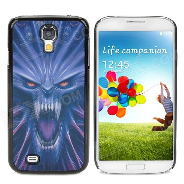 3D Dynamic Fierce Wolf Head Pattern Protective Plastic Back Case for Samsung Galaxy S4 - Black