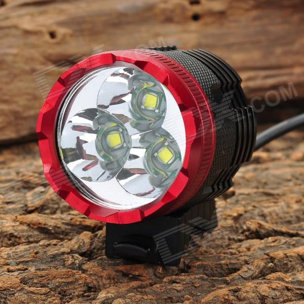 NWE-306 1400lm 3-Mode White Bike Bicycle Headlamp w/ 3 x Cree XM-L T6 - Black + Red (4 x 18650) rustu d30 2300lm 3 mode white bicycle headlamp w 3 cree xm l t6 black red 6 x 18650
