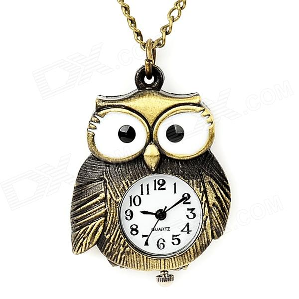Cute Owl Style Analogue Quartz Zinc Alloy Pocket Watch w/ Neckchain - Bronze (1 x LR41) cute owl pendant chain necklace dual dial quartz pocket watch bronze 80cm chain 1 x lr626