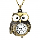 Cute Owl Style Analogue Quartz Zinc Alloy Pocket Watch w/ Neckchain - Bronze (1 x LR41)
