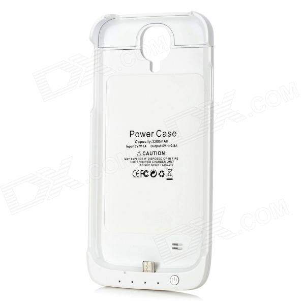 Rechargeable 3200mAh External Battery Power Case for Samsung Galaxy S4 - White rechargeable 2800mah external power battery back case for samsung galaxy s ii i9100 white