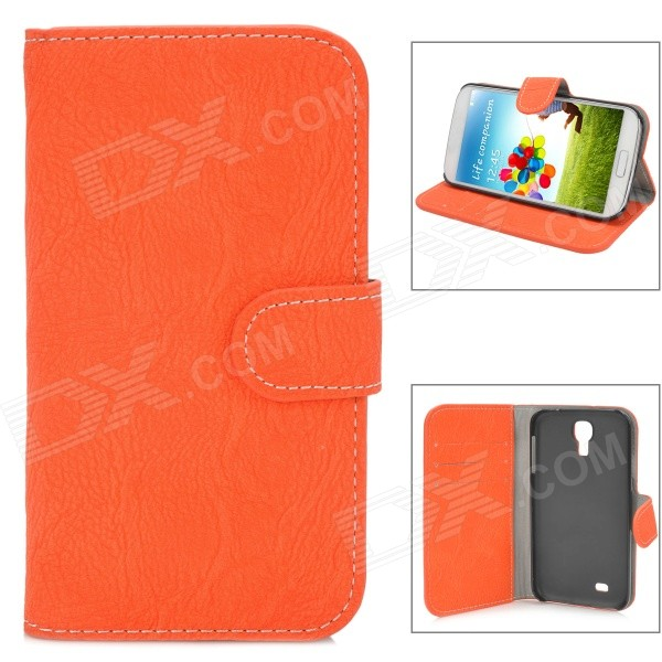 Bark Grain Pattern Protective Flip-Open PU Leather Case for Samsung Galaxy S4 i9500 - Orange + Black