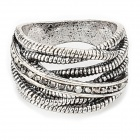 Retro Stylish Interlaced String Style Zinc Alloy Ring w/ Shiny Crystal - Silver