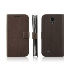 Wood Texture Protective PU Leather TPU Back Case Stand for Samsung Galaxy S4 i9500 - Deep Brown