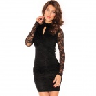Fashion Knot Front Lace Dress - Black (Size L)