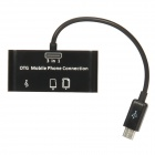 SG-007 3-in-1 TF / SD Card Reader + 1-Port USB 2.0 HUB for OTG Cellphone - Black (Max. 32GB)