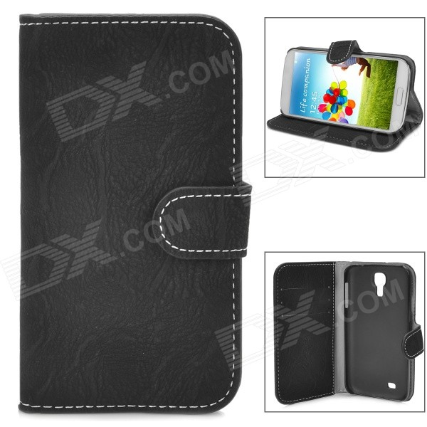 Bark Grain Pattern Protective PU Leather Flip-Open Case for Samsung Galaxy S4 i9500 - Black protective flip open pu leather case for samsung galaxy s4 i9500 white