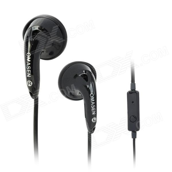 OMASEN OM78 Stylish Stereo Earphone w/ Microphone for Iphone / Ipod / HTC / Samsung - Black omasen om78 stylish stereo earphone w microphone for iphone ipod htc samsung white 3 5mm