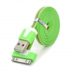 USB 2.0 to 30-Pin Data / Charging Flat Cable for iPhone 4 / 4S / iPod / iPad 1 / 2 / 3 - Green + Red