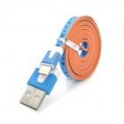 USB to 8-Pin Lightning Sync Data Flat Cable w/ Flowers Pattern for iPhone 5 - Blue + White + Orange