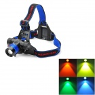 Cree XM-L T6 300lm 3-Mode White Zooming Headlamp w/ 4-Color Lens - Blue (1 x 18650 / 3 x AAA)