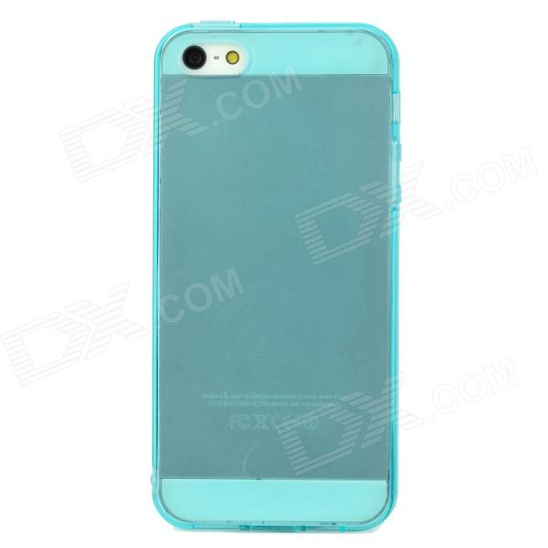Ultrathin Protective TPU Back Case w/ Anti-Dust Cover for Iphone 5 - Blue