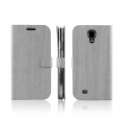 Wood Texture Protective PU Leather Cover TPU Back Case Stand for Samsung Galaxy S4 i9500 - Grey