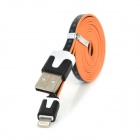 USB to 8-Pin Lightning Sync Data Flat Cable w/ Flowers Pattern for iPhone 5 - Black + White + Orange