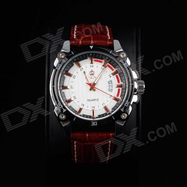 ORKINA P0027:48 Fashionable Men's Quartz Watch w/ Simple Calendar - Brown + Black + White (1 x LR44)