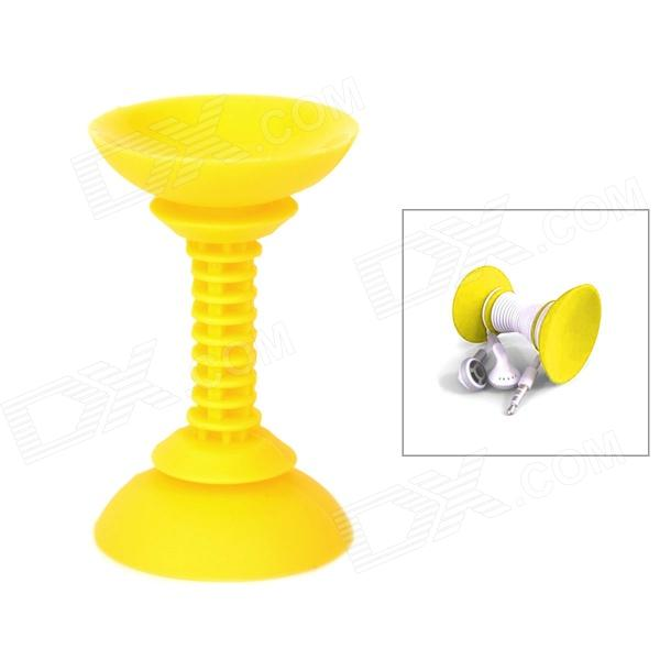 Dual Suction Cups Design Creative Silicone Stand Holder Support for Iphone / Ipad - Yellow
