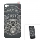 I-color 3D Skull Pattern Protective Back Case Sticker for Iphone 4S - Grey