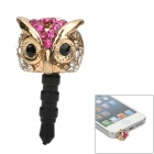 Exquisite Crystal Owl Style Zinc Alloy Anti-Dust Plug for iPhone 5 - Golden