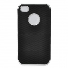Electroplating Artificial Leather Hard Back Case for Iphone 4 / 4S - Black