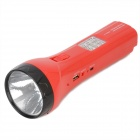 228W 100lm 2-Mode Rechargeable White LED Flashlight w/ MP3 Player Function + FM/TF - Red + Black