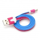 Fashion Pattern Flat USB Male to 8 Pin Lightning Data Cable for iPhone 5 - Deep Pink + Blue + White
