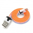 Fashion Pattern Flat USB Male to 8 Pin Lightning Data Cable for iPhone 5 - Orange + Blue + White