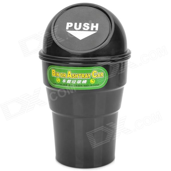 все цены на LW-1796 Car Plastic Trash Can Bin Holder w/ Push Cover - Black онлайн