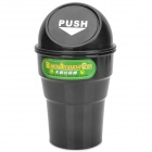 Car Plastic Trash Can Bin Holder w/ Push Cover - Black