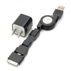 Retractable USB-Stecker auf 8 Pin 30 Pin Blitz + + Micro / Mini-USB-Datenkabel w / AC Adapter - Schwarz