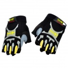 Free Soldier Outdoor Cycling Nylon Half-finger Gloves - Black +Yellow ( Pair / Size XL)