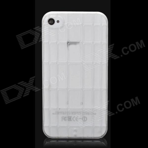 Protective 3D Bamboo Style Plastic Back Case for Iphone 4 / 4S - Transparent
