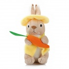 Cute Rabbit with Carrot Short Plush Doll Toy - Yellow + Light Brown