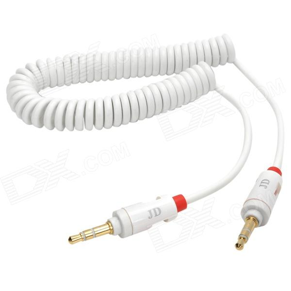 3.5mm Male to 3.5mm Male Coiled Curly Audio Connection Cable - White + Red (191cm) 3 5mm male to male audio connection nylon cable white red black 1m