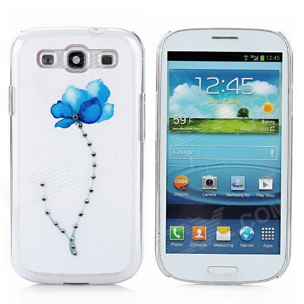 Rhinestone Orchid Pattern Protective Plastic Case for Samsung Galaxy S3 i9300 - White + Blue kinston colorful flowers and butterflies pattern plastic protective case for samsung galaxy s3 i9300