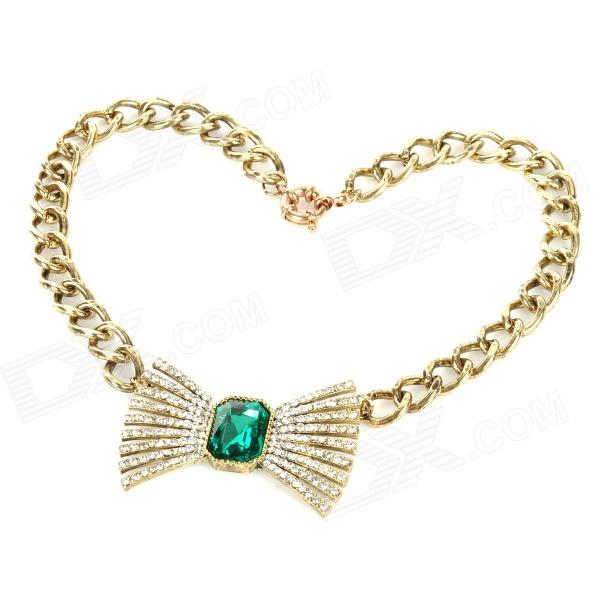 Elegant Artificial Stone Bow Style Zinc Alloy Necklace - Bronze + Green elegant artificial stone bow style zinc alloy necklace bronze green