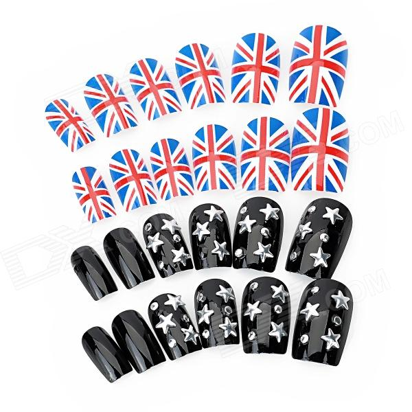 The Union Flag + 3d Stars Design Pre-Glued Nail Art Nail Tip - Multicolor (24 PCS) tesla wye 200w mod for e cigarette
