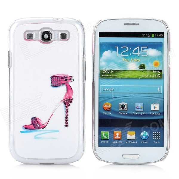 Rhinestone High Heels Pattern Protective Plastic Case for Samsung Galaxy S3 i9300 - White + Red cm001 3d skeleton pattern protective plastic back case for samsung galaxy s4